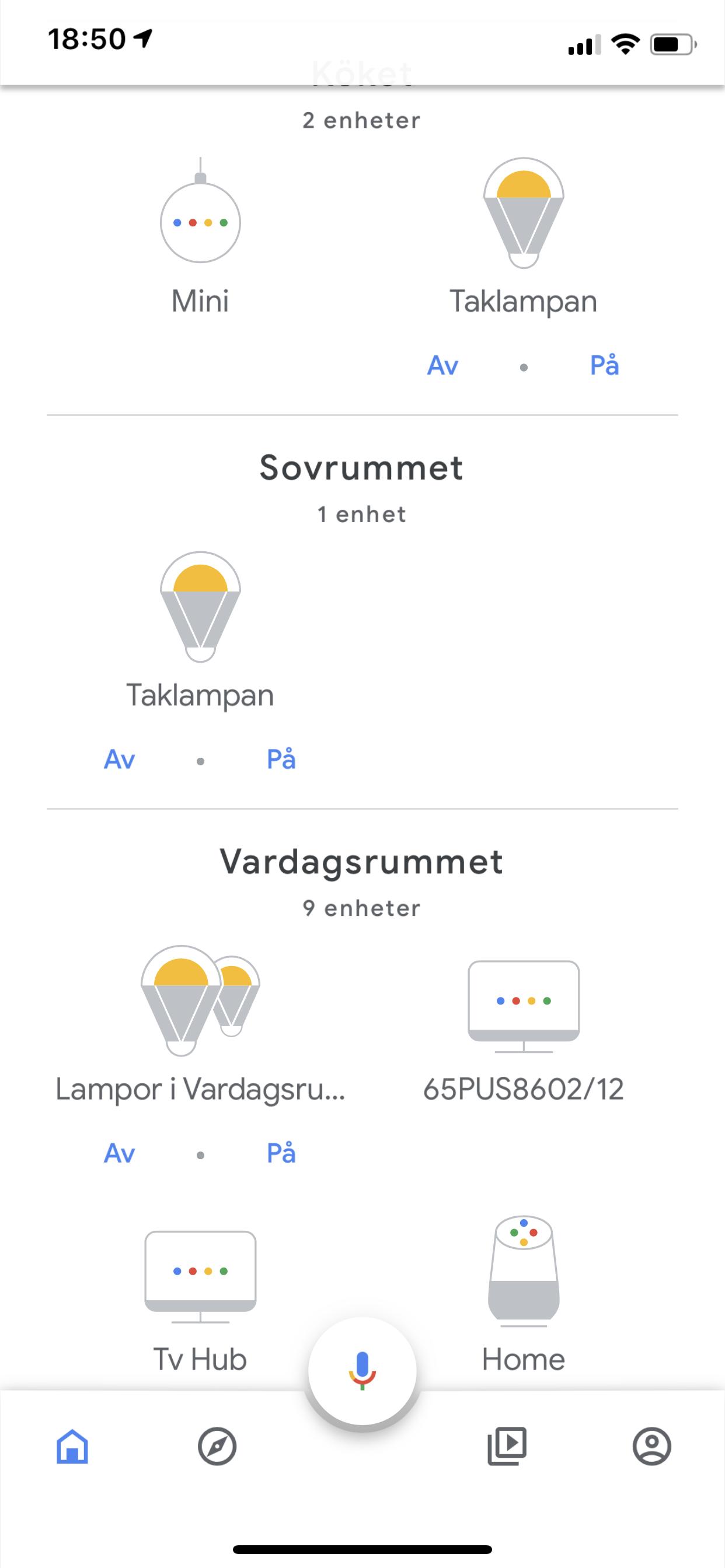 Den nya Google Home-appen ger en bra överblick över de olika rummen. (Foto   skärmdump från iOS-appen) 43df89d4b27ed