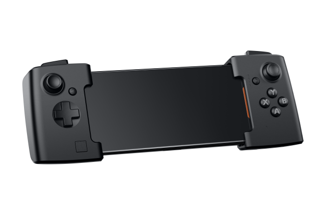 """Man kan köpa extra tillbehör av olika slag Asus ROG-telefonen. Det mest nödvändiga är en """"förlängning"""" med inbyggda joystickar."""