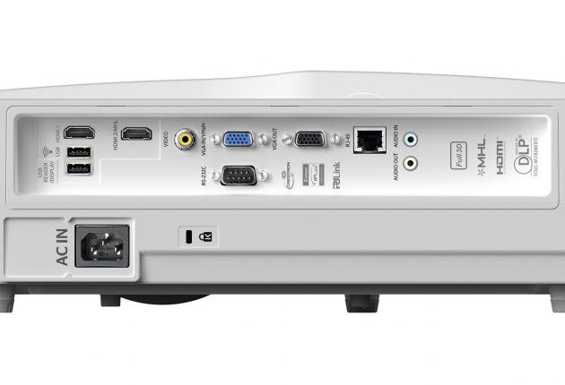 HD31UST har två HDMI-ingångar och lägg märke till ljudutgången med 3,5 mm minijack-kontakt. Foto: Optoma