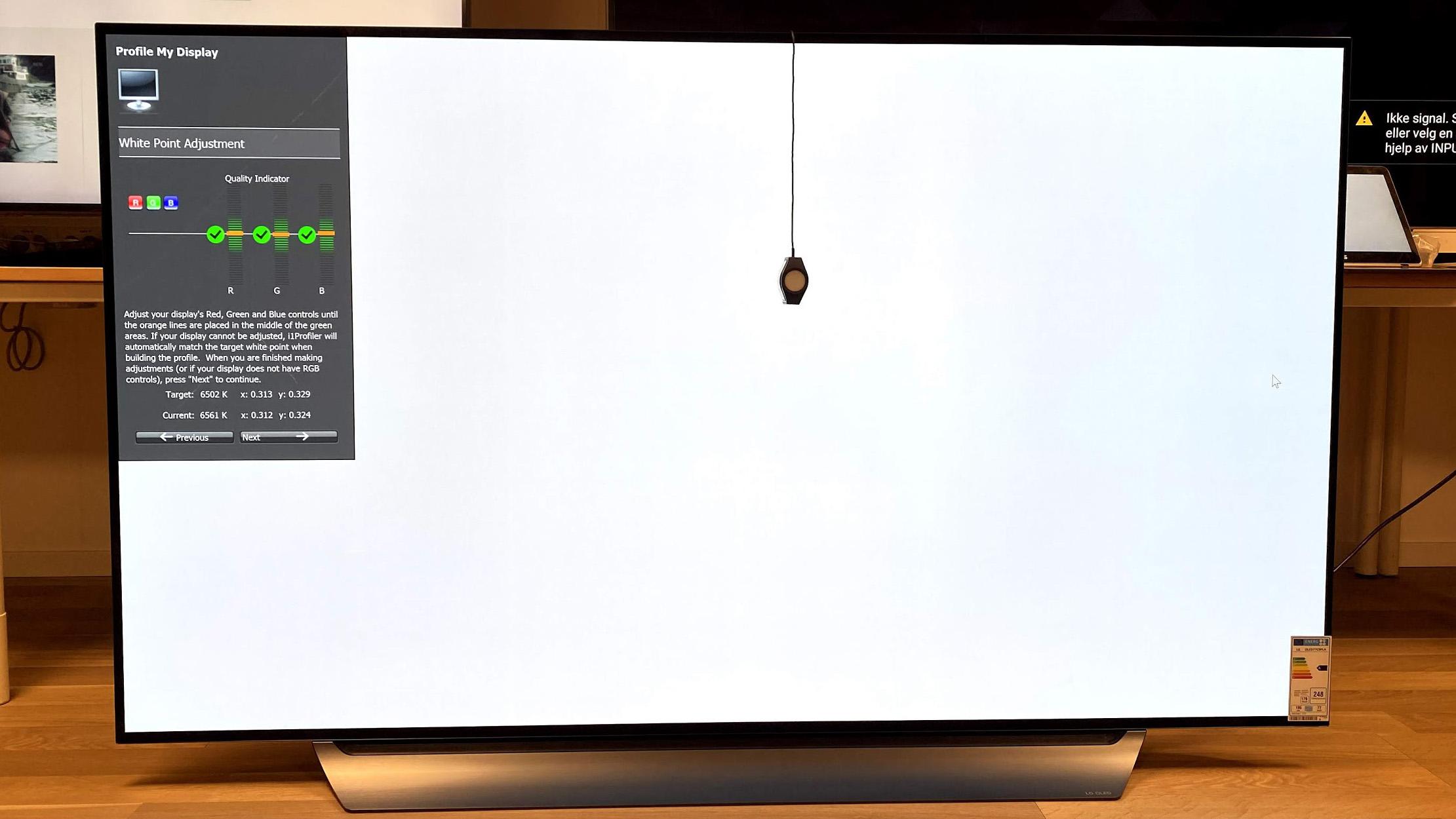 LG OLED77C9 whitepoint