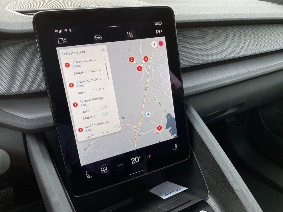 Polestar 2 ladestasjoner GPS