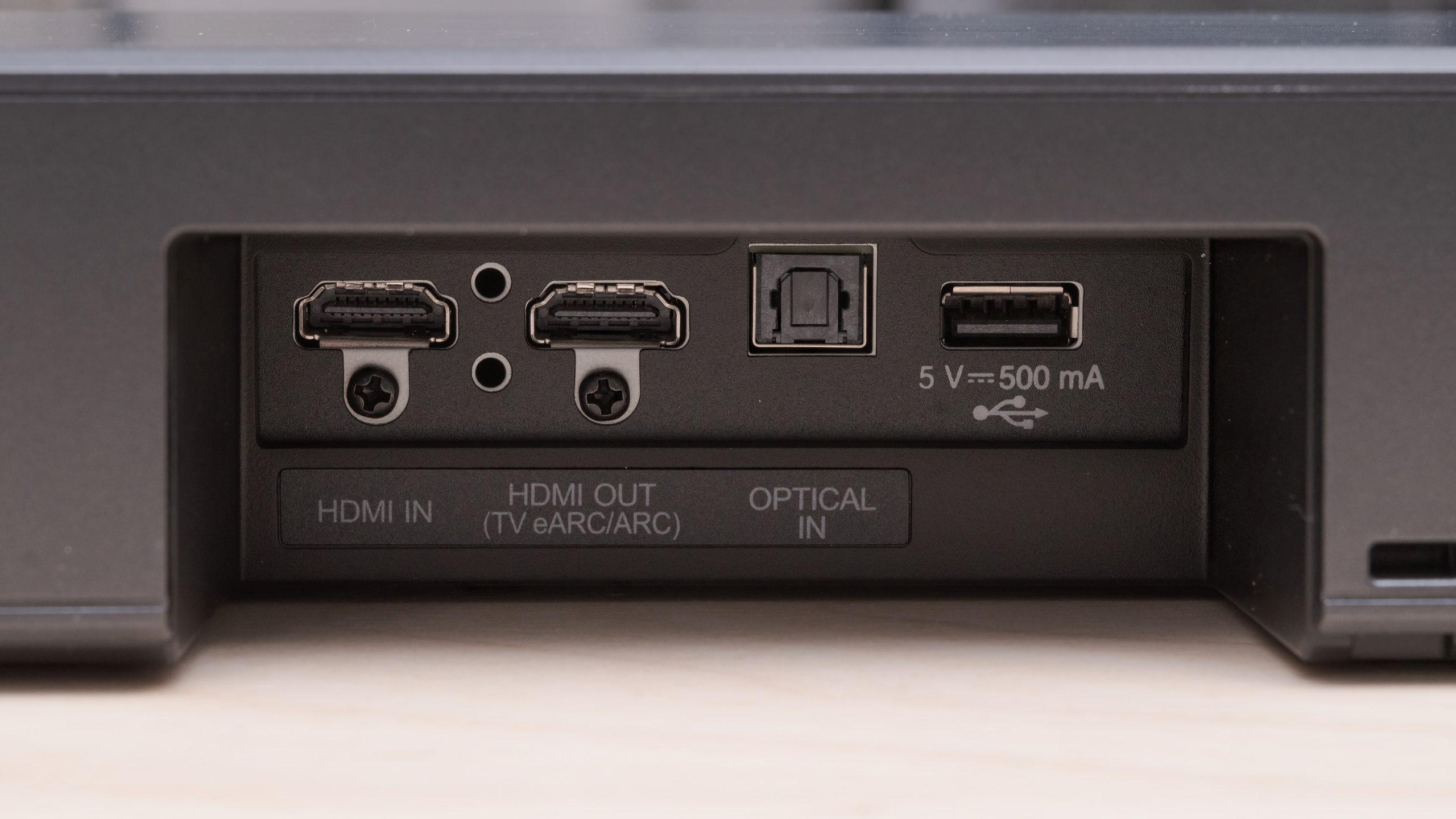 SN8YG har en HDMI-inngang i tillegg til en utgang med eARC for høyoppløst lyd via lydreturen. Optisk digitalinngang er også på plass, i tillegg til en USB-tilkobling for mediafiler på minnepinne. Foto: LG