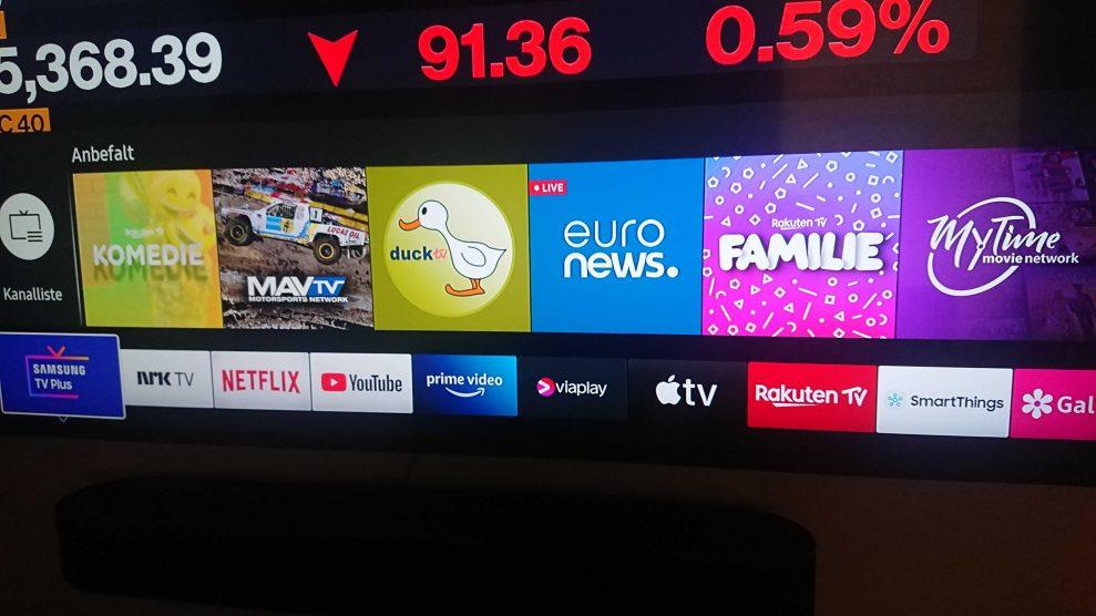 Samsung TV plus content bar