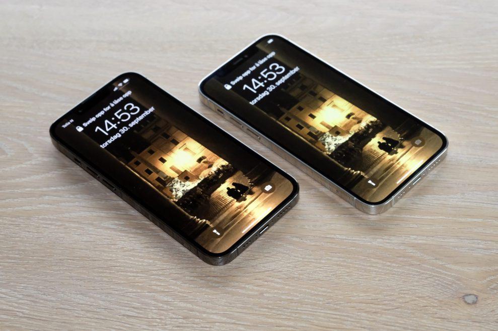 iPhone 13 Pro skjermsammenligning