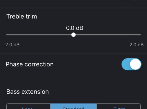Appen ger tillgång till flera viktiga parametrar som kan förbättra ljudet.