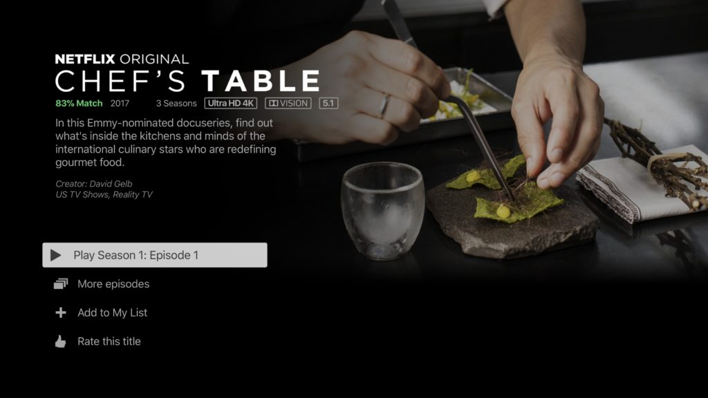 Netflix 4K HDR Chefs Table