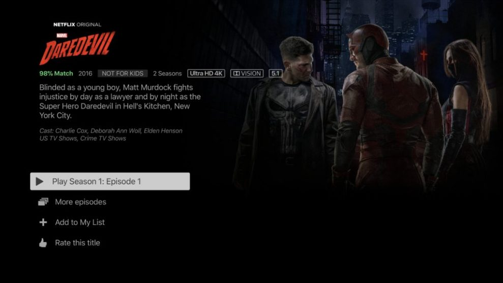 Netflix 4K HDR Daredevil