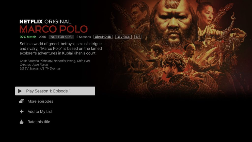 Netflix 4K HDR Marco Polo