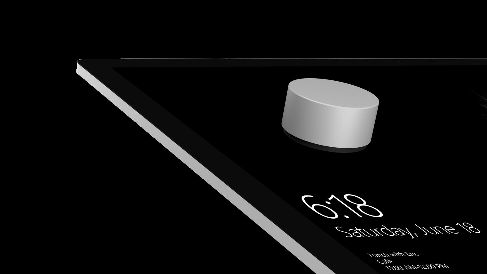 """Surface Dial är en trådlös """"ratt"""" som kan användas till olika enheter. Foto: Microsoft"""