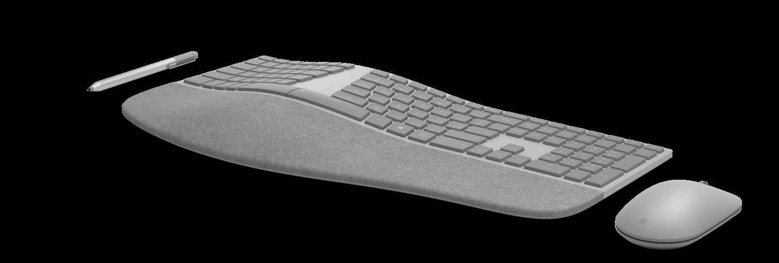 Det står Surface på all maskinvara. Här är, från vänster till höger, Surface Pen, Surface Ergonomic Keyboard och Surface Mouse. Foto: Microsoft