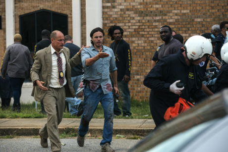 (Left to right) Woody Harrelson and Casey Affleck in TRIPLE 9.