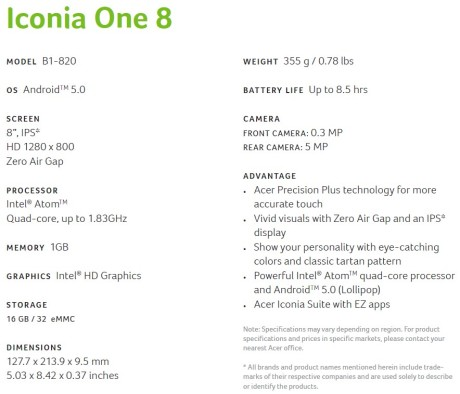 iconia one 8 specs